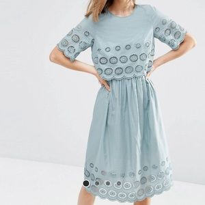 ASOS Layered Eyelet Green Blue Midi Dress 4 SM